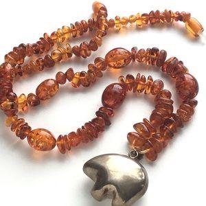 Vintage Honey Amber & Sterling Bear Bell Necklace